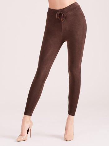 Brązowe sztruksowe legginsy z wysokim stanem
