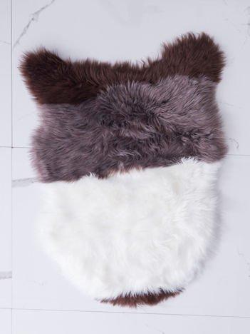 Brązowo-biały dywanik shaggy