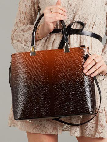 Brązowo-czarna elegancka torebka skórzana
