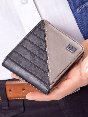 Brązowo-czarny portfel męski z tłoczeniem