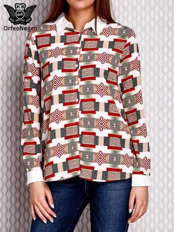 Brązowo-łososiowa wzorzysta koszula z podwijanymi rękawami