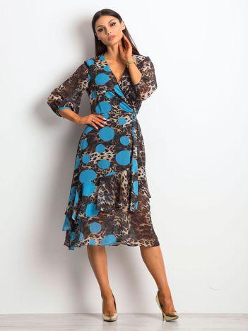 Brązowo-niebieska sukienka Wearability
