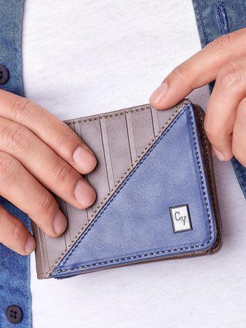 Brązowo-niebieski portfel męski z tłoczeniem