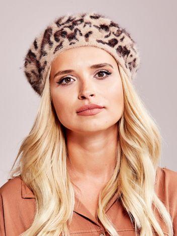 Brązowy beret w cętki