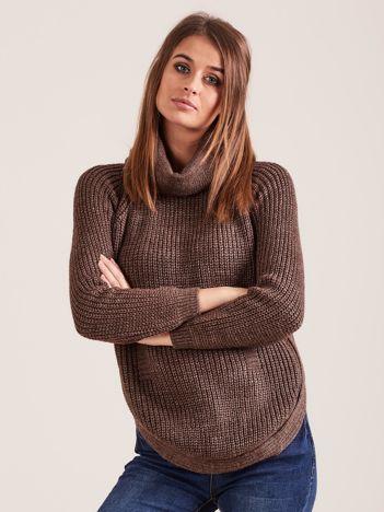 Brązowy damski sweter golf