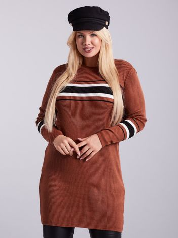 Brązowy długi sweter PLUS SIZE