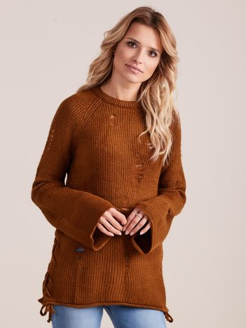 Brązowy luźny sweter ze sznurowaniem i szerokimi rękawami