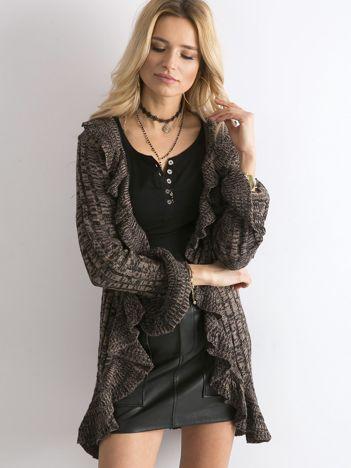 Brązowy otwarty sweter z falbanami