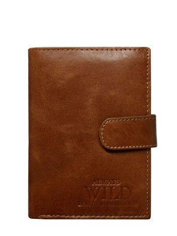 Brązowy pionowy portfel dla mężczyzny