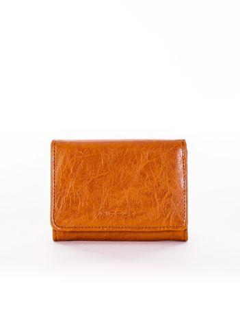 Brązowy portfel damski z ekoskóry