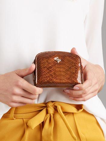Brązowy portfel damski z motywem zwierzęcym