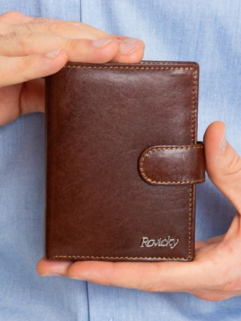 Brązowy portfel męski ze skóry