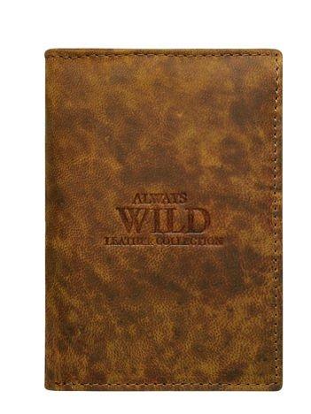 Brązowy portfel męski ze skóry bez zapięcia