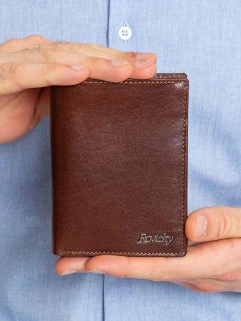 Brązowy portfel męski ze skóry naturalnej
