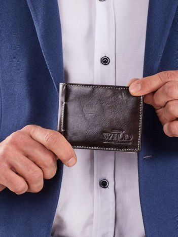 Brązowy poziomy męski portfel