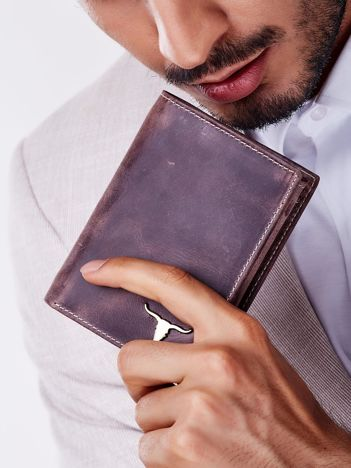 Brązowy prostokątny portfel męski