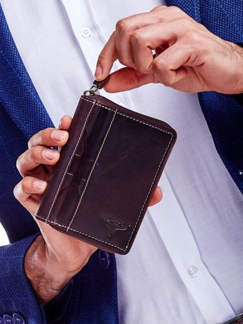 Brązowy skórzany portfel dla mężczyzny na suwak