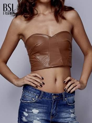Brązowy skórzany top bralet