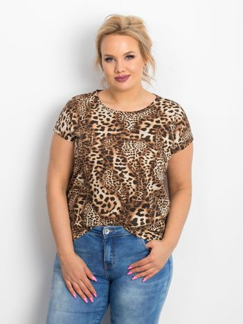Brązowy t-shirt plus size Elsie