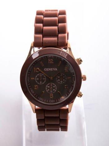 Brązowy zegarek damski z silikonowym paskiem