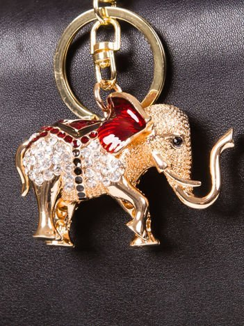 Brelok SŁOŃ duży metalowy z cyrkoniami złoto - czerwony