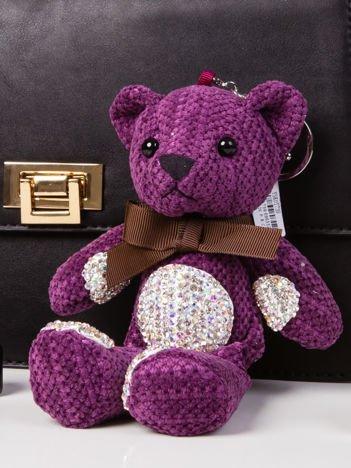 Brelok zawieszka do torebki do kluczy MIŚ z cekinami fioletowy