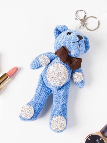 Brelok zawieszka do torebki do kluczy MIŚ z cekinami niebieski