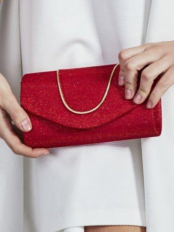 Brokatowa kopertówka z ozdobną lamówką czerwona