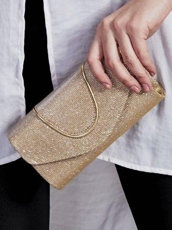 Brokatowa kopertówka z ozdobną lamówką złota