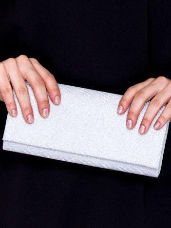 Brokatowa kopertówka ze wzorem w romby srebrno-biała