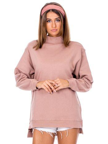 Brudnoróżowa dresowa bluza z półgolfem