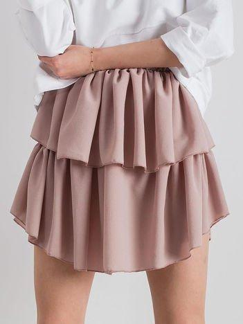 Brudnoróżowa spódnica mini z falbanami