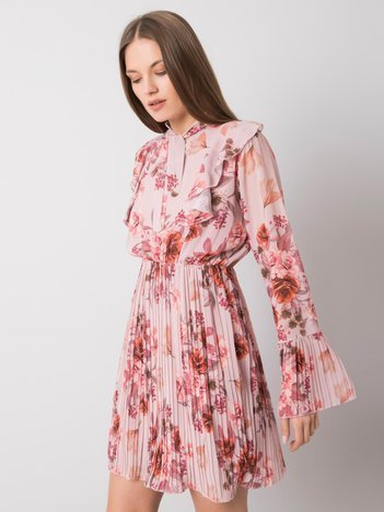 Brudnoróżowa sukienka w kwiaty Hayley
