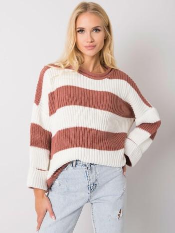 Brudnoróżowy sweter w paski Bree