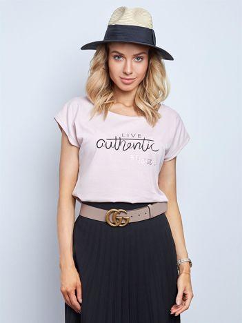 Brudnoróżowy t-shirt Authentic