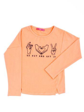 Brzoskwiniowa bluzka dla dziewczynki z haftem