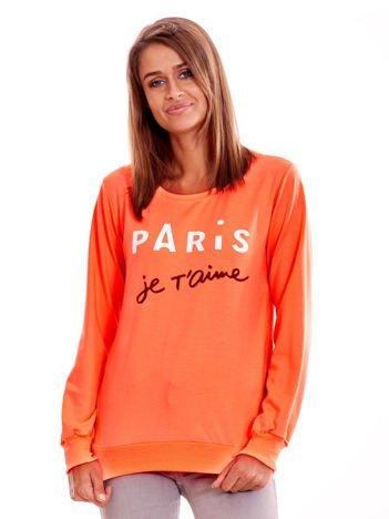 Brzoskwiniowa lekka bluza damska z napisem PARIS JE T'AIME