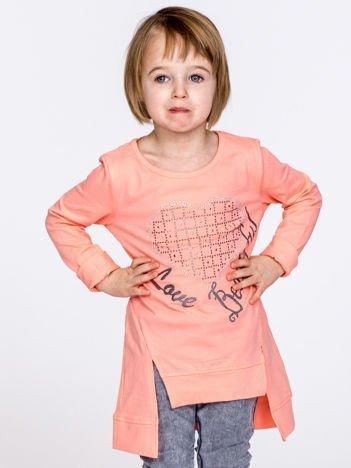 Brzoskwiniowa melanżowa bluzka dziewczęca z sercem z dżetów