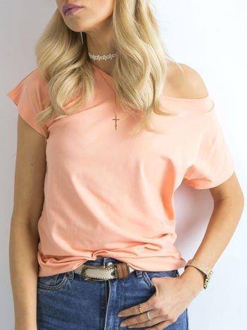 Brzoskwiniowy gładki t-shirt