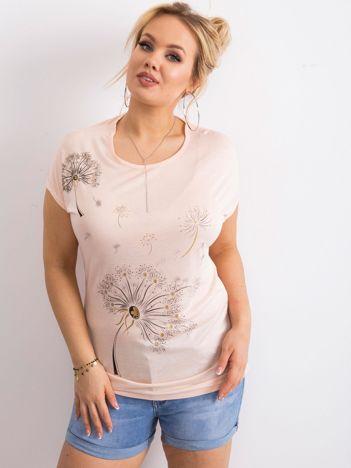 Brzoskwiniowy t-shirt damski z nadrukiem PLUS SIZE