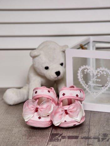Buciki dziewczęce na rzep z kokardką różowe