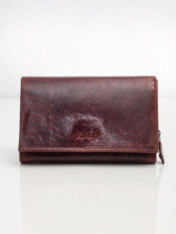 Burgundowy portfel ze skóry naturalnej