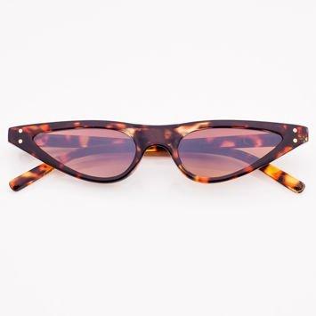 CAT EYE Brązowe damskie okulary przeciwsłoneczne KOCIE OCZY