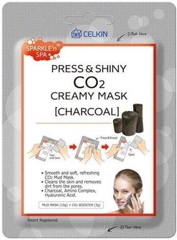 CELKIN Press & Shiny CO2 Creamy Mask KOREAŃSKA maseczka na twarz WĘGIEL 10 g + 3 g