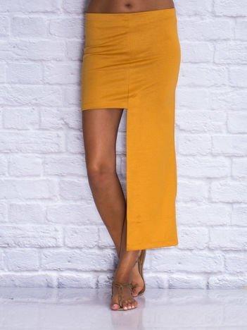 Camelowa asymetryczna spódnica