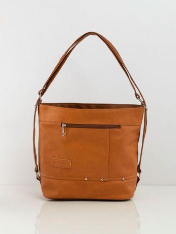 Camelowa torba city bag z ekoskóry