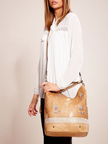 Camelowa torba z łączonych materiałów w stylu japońskim