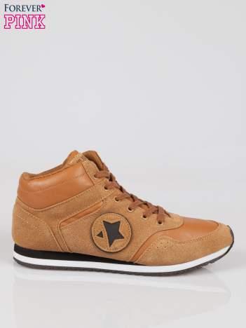 Camelowe buty sportowe faux suede Stylish z imitacji zamszu