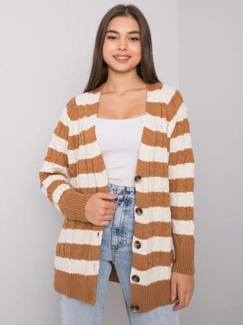 Camelowo-kremowy sweter rozpinany w paski Lamia