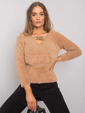 Camelowy sweter z wycięciami Leandre RUE PARIS